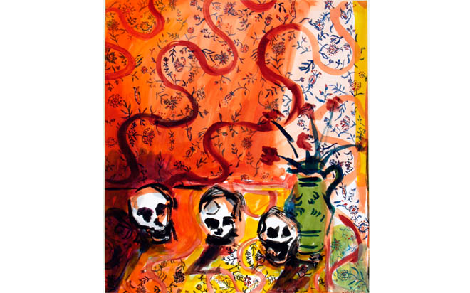 Still Life with Skulls (watercolour) 2003 Stanley Picker Gallery Collection