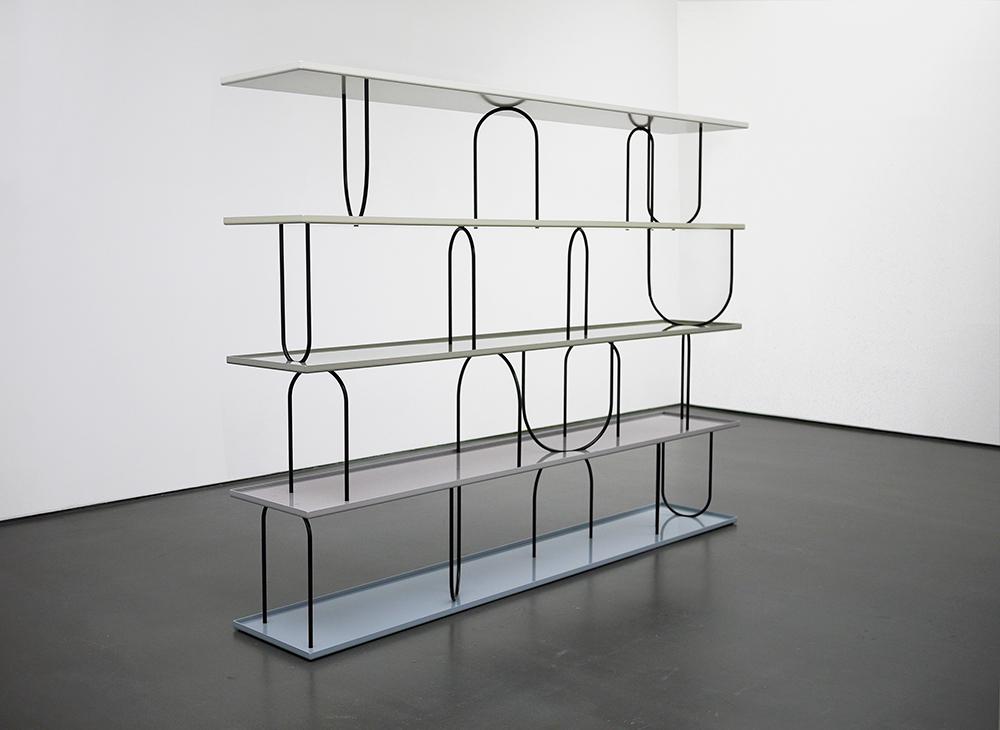 """Image of Nicole Wermer's 2011 work Wasserregal (watershelf) installation view at """"Hotel Biron"""" Kunstverein für die Rheinlande und Westfalen, Düsseldorf"""