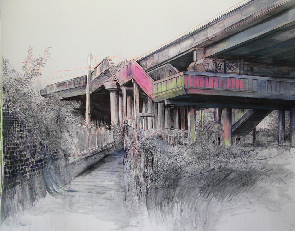 M6 Junction 9, Bescot 2011 chalk, acrylic and ink on watercolour paper