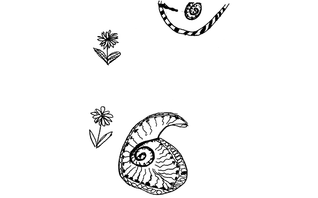 Eloise - Original seashell and floral design in ink pen, inspired by an Interior Design graduate's textiles for a Margate residence.