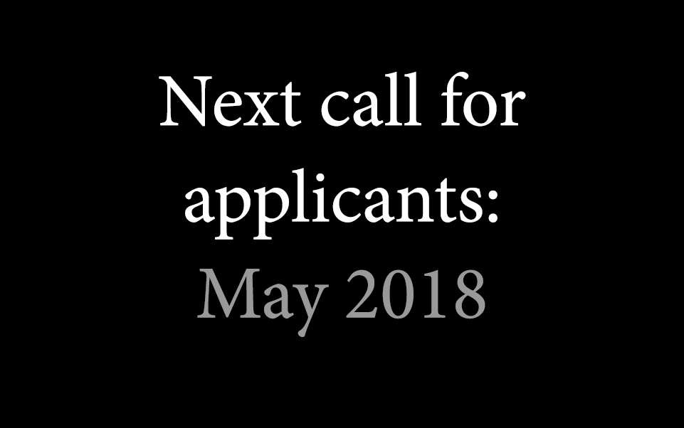 Next call for applicants May 2018