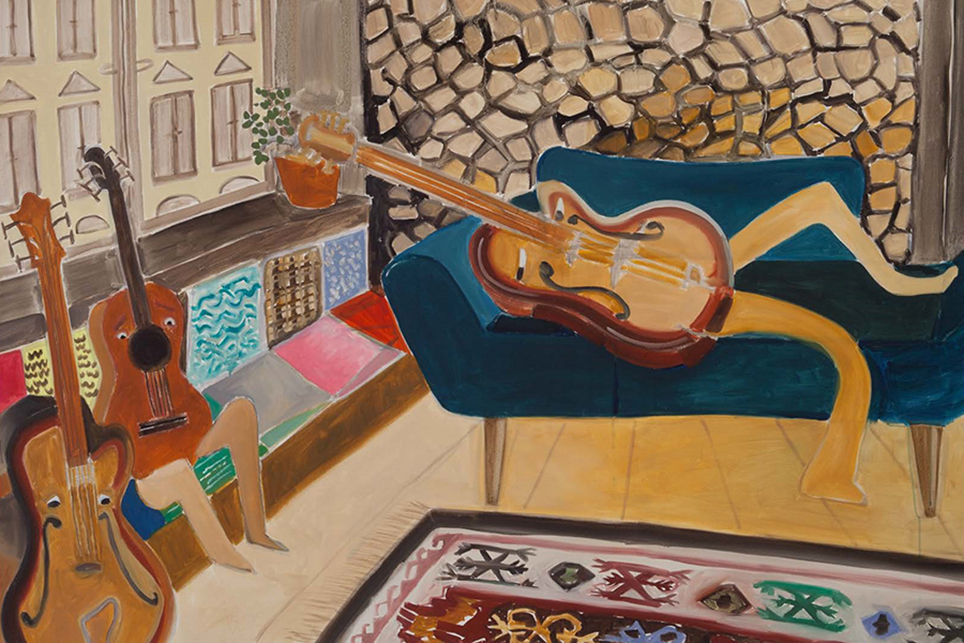 Katrin Plavčak The Guitar Gently Weeps (2018) Oil on canvas 120 × 150 cm. Courtesy the artist and Galerie Mezzanin, Geneva © VG Bild-Kunst